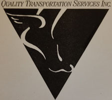 Quality Transportation Services old logo with a winged foot